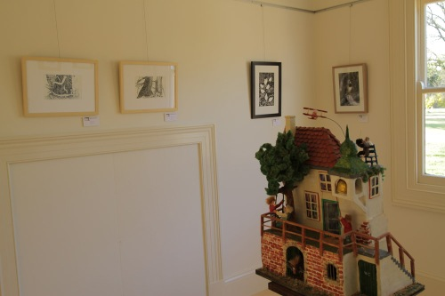 Hanging L-R; Belinda Prests's drawings 'Plough Tree', Jo Ralston's 'Hen House' linocut and Geoff Park's photograph 'Crested Bellbird'.