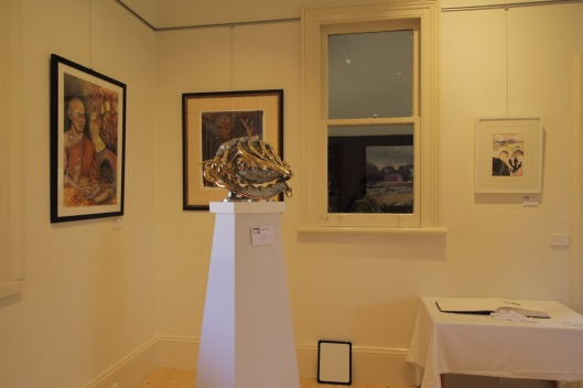Trefor Prest's sculpture 'The Chosen One', with (L-R), works by Maritsa Gronda, Knowles Gray & Julie Patey.