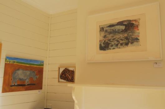 L-R, Tegwen Prest's 'Rhinoceros', Saide Gray's 'Textured Landscape I' and Julie Patey's 'Skyline'.