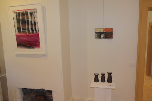 Prue McAdam's 'Tribute to T.T.', with the second group of Chris Johnston's ceramic works, and a small painting by Bob Clutterbuck.