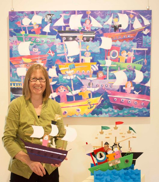 Karen and the Kids - Karen Pierce pictured with Ship Shapes painting and kids models IMG_3541 small